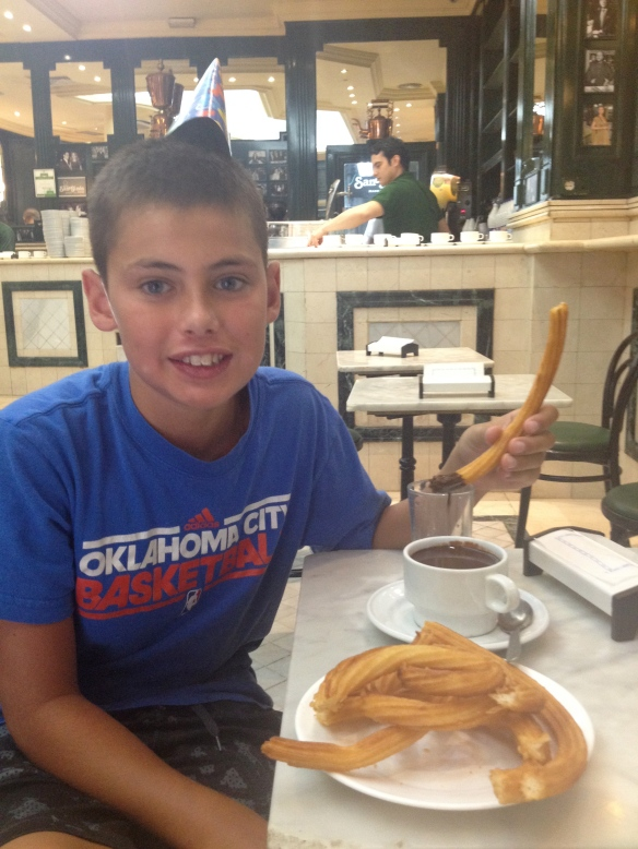 Chocolate con Churros for the birthday boy.