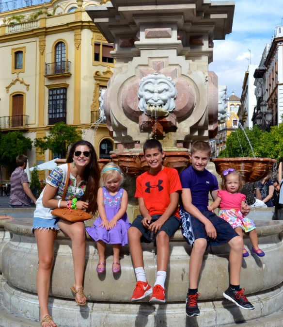 Our kids with our friends' girls in Sevilla, Spain.