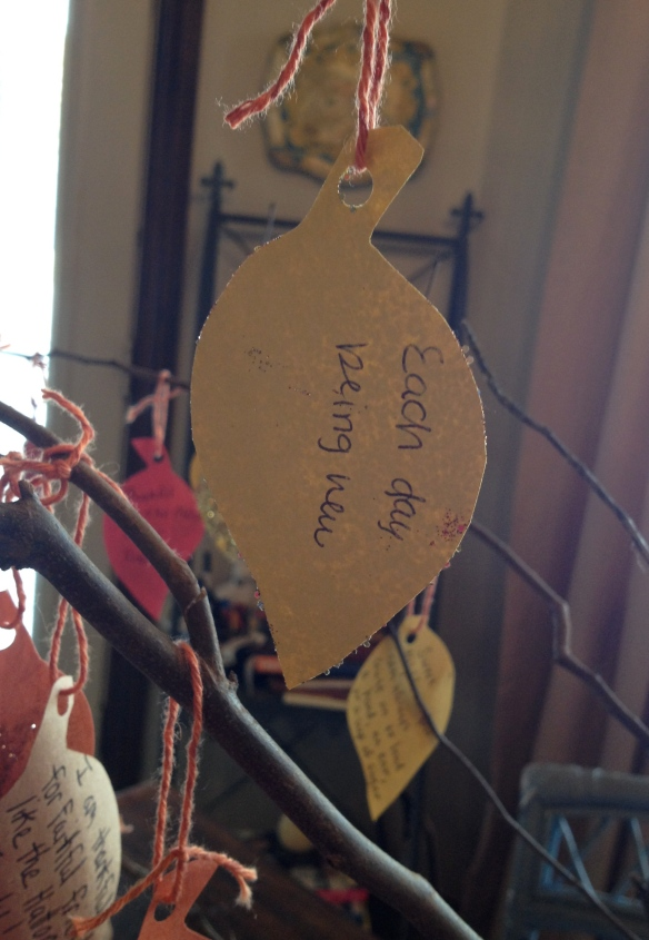 "One of her ""grace"" leaves hanging on our Gratitude Tree."